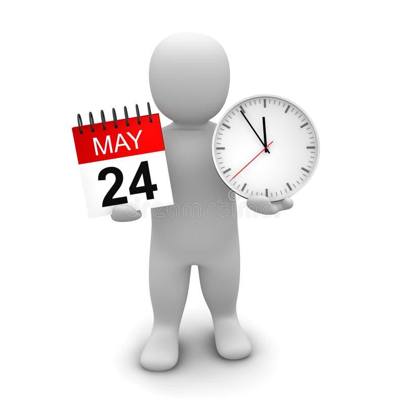 Horloge et calendrier de fixation d'homme illustration de vecteur