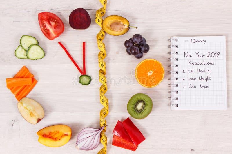 Horloge faite de fruits et légumes montrant à période de 23 heures 55 minutes, résolutions de nouvelle année images libres de droits