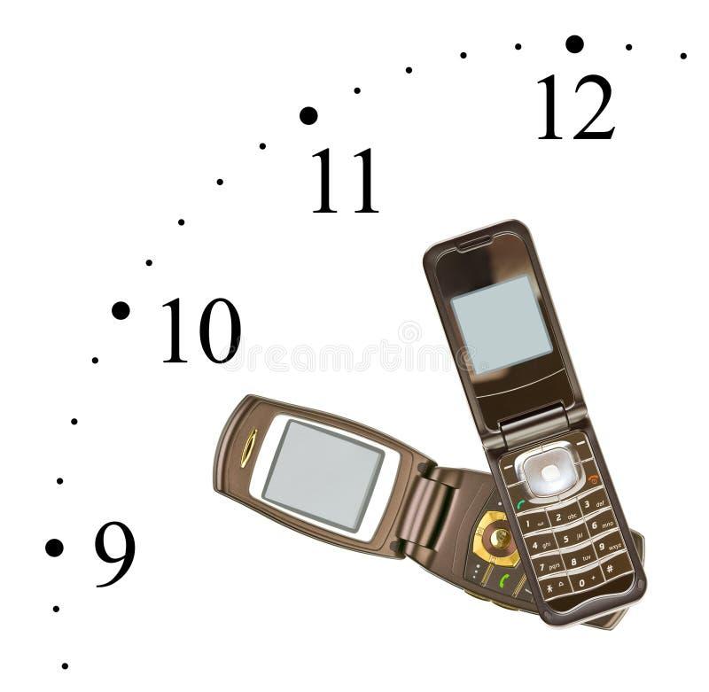 Horloge faite de téléphones portables images libres de droits