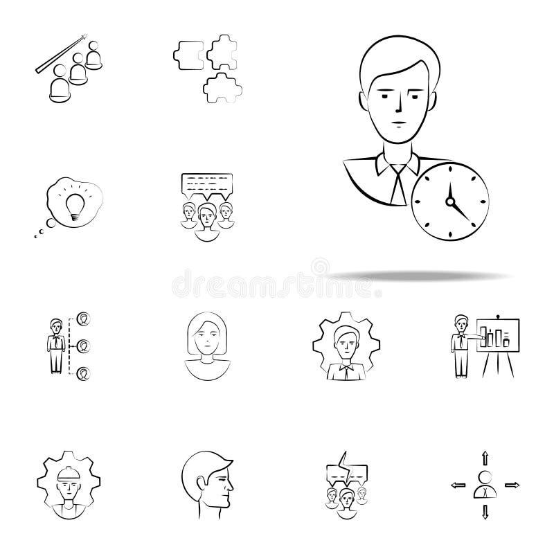 horloge, gestion, icône tirée par la main de productivité Ensemble universel d'icônes d'affaires pour le Web et le mobile illustration libre de droits