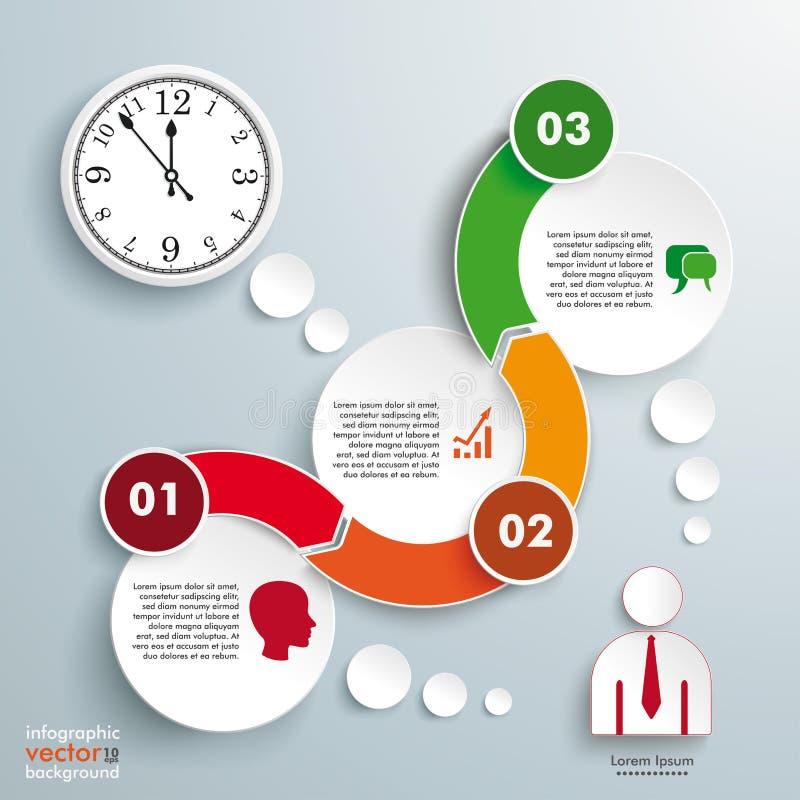 Horloge Infographic de chronologie de cercles de la vague 3 illustration stock