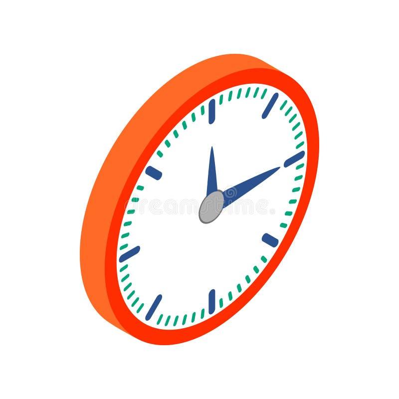 Horloge murale avec l'icône rouge de jante, style 3d isométrique illustration de vecteur