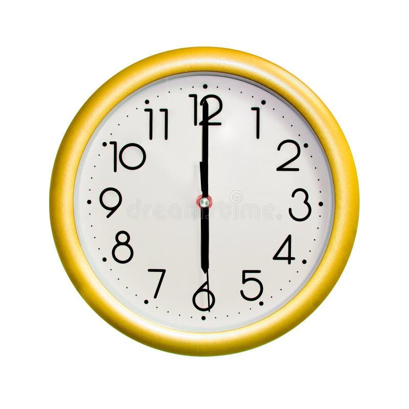 Horloge murale jaune de cercle photo libre de droits