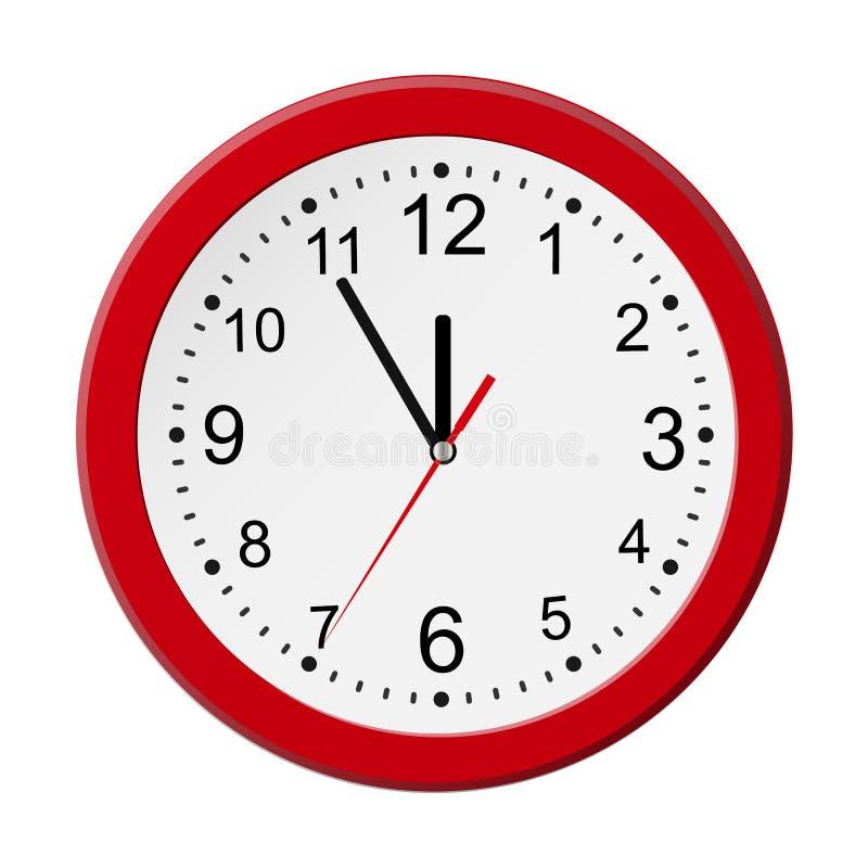 Horloge murale ronde rouge classique d'isolement sur le blanc Illustration de vecteur illustration libre de droits