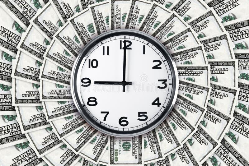 Horloge murale sur des billets de banque du dollar images libres de droits