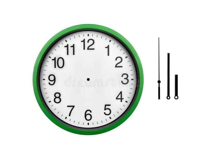 Horloge murale verte d'isolement sur un fond blanc photo libre de droits