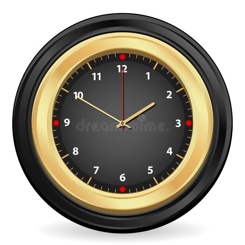 Horloge noire d'or illustration libre de droits