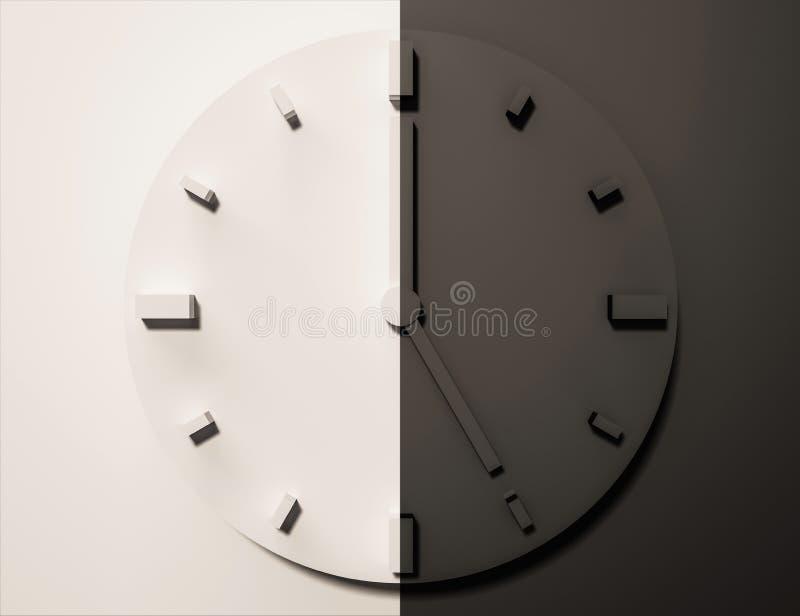 Horloge noire et blanche, 3d rendu, jour et nuit illustration libre de droits