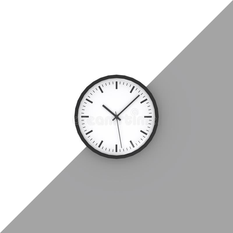 Horloge noire et blanche sur le style minimal de mur illustration de vecteur