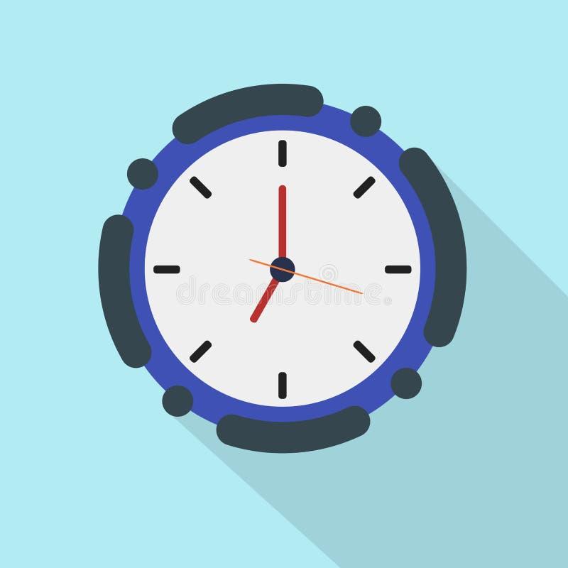 Horloge plate d'icône sur le fond bleu illustration stock