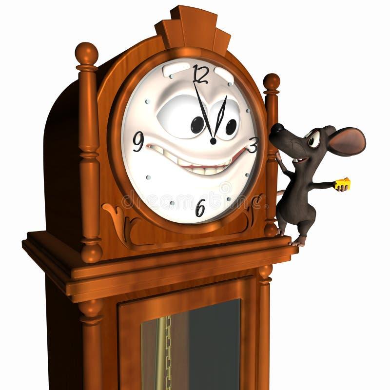 Horloge première génération souriante avec la souris illustration de vecteur