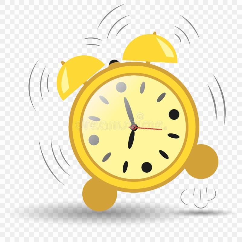 Horloge, réveil sept heures Sauter de réveil Réveil de sonnerie Fond d'isolement par élément de vecteur illustration stock