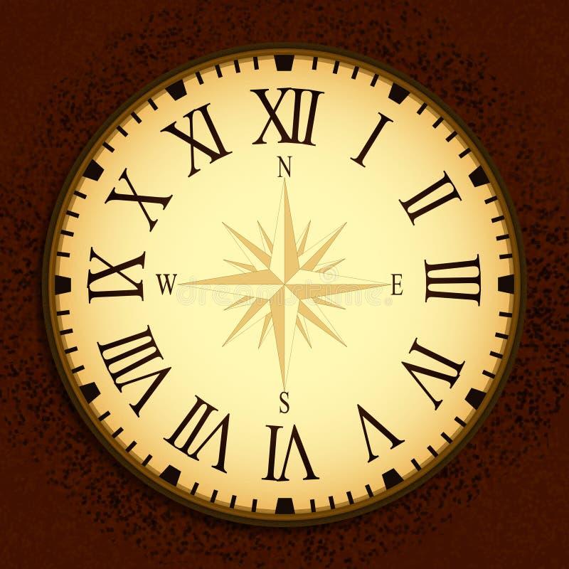 Horloge simple de vintage avec Roman Letters comme nombres sur le cadran illustration stock