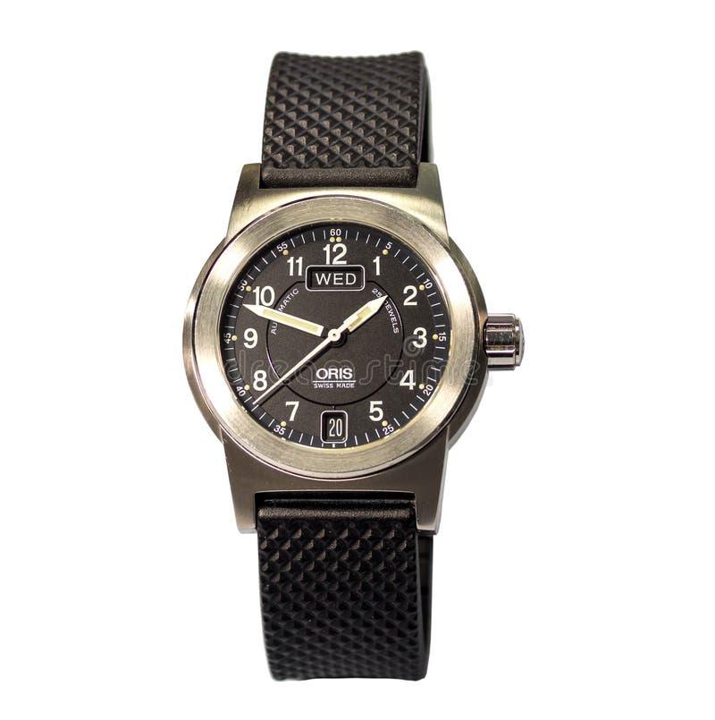 Horloge van de Oris het proef grote die kroon op witte achtergrond wordt geïsoleerd royalty-vrije stock afbeelding