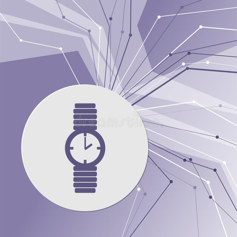 Horlogepictogram op purpere abstracte moderne achtergrond De lijnen in alle richtingen Met ruimte voor uw reclame royalty-vrije illustratie