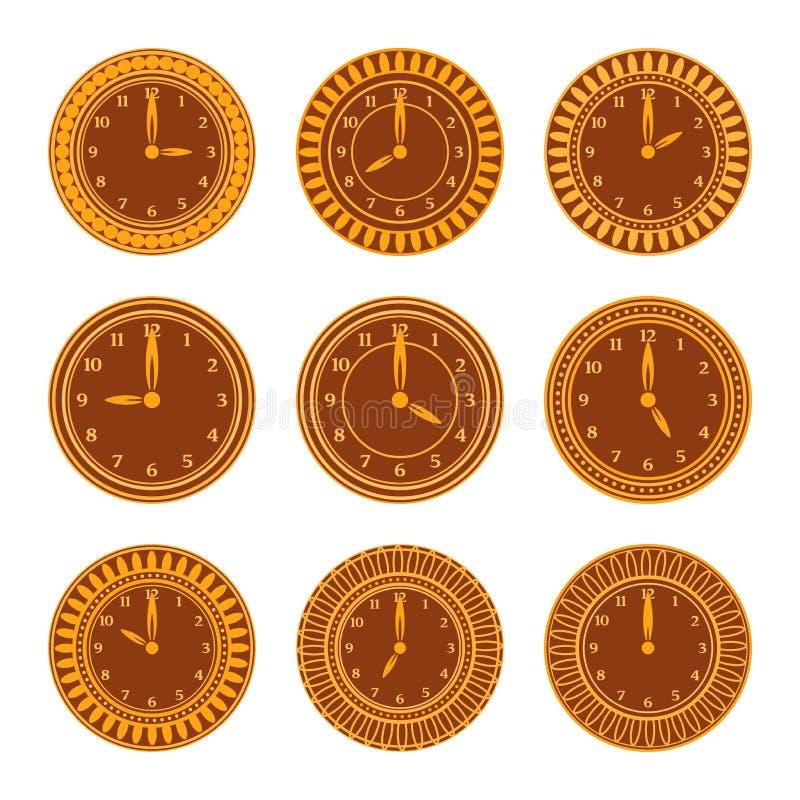 Horloges ambres colorées réglées illustration libre de droits