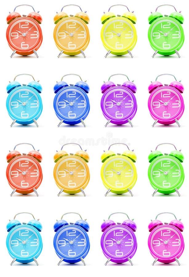 Horloges d'alarme colorées photo stock