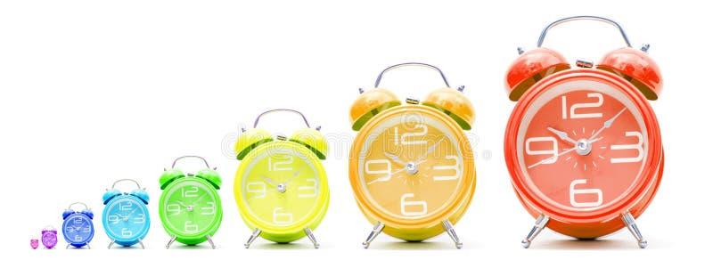 Horloges d'alarme colorées photographie stock libre de droits