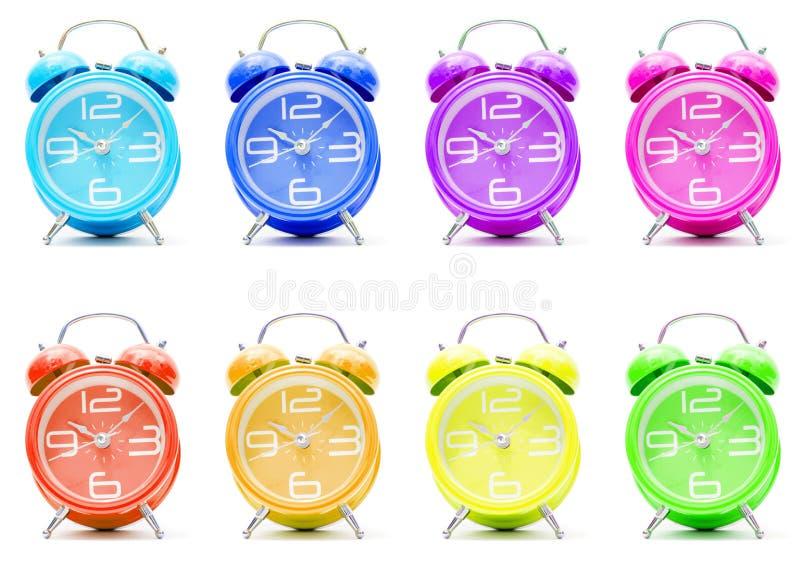 Horloges d'alarme colorées images stock