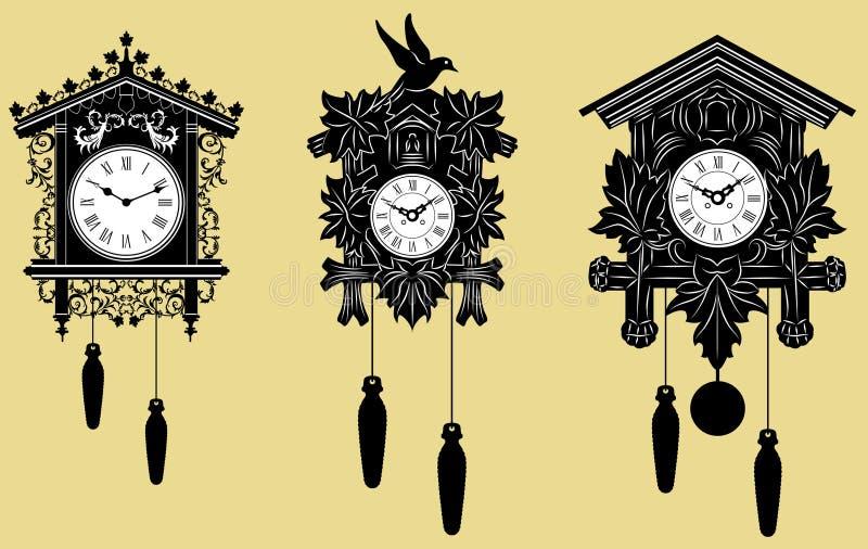 Horloges de coucou réglées illustration de vecteur