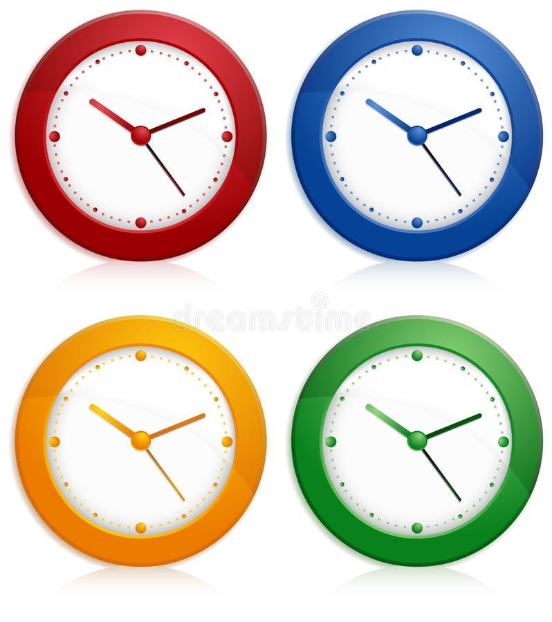 Horloges de mur de couleur illustration de vecteur