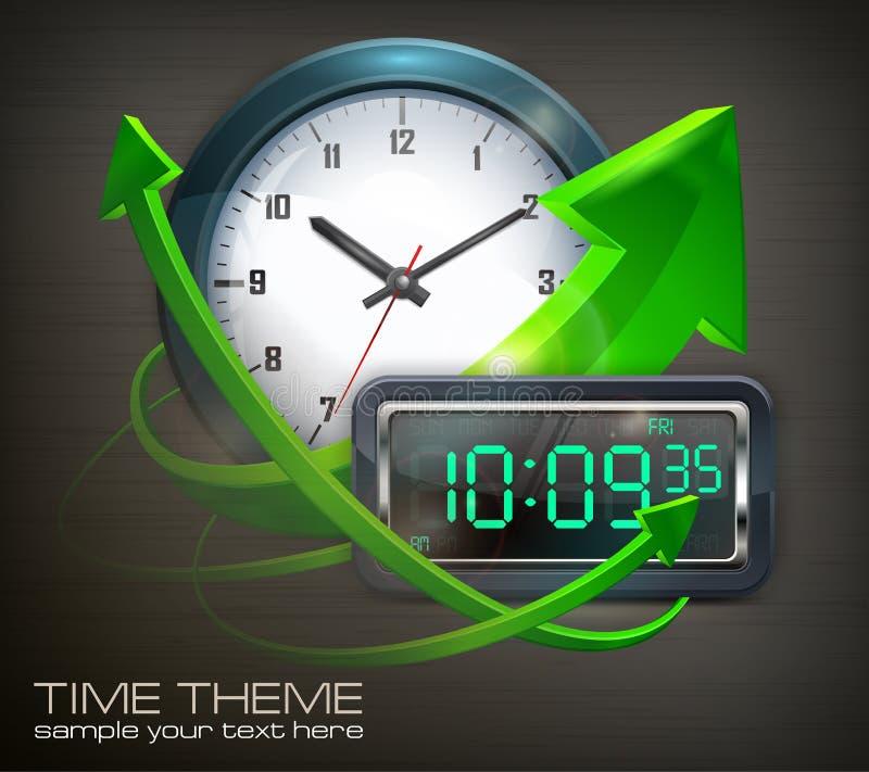 Horloges et flèches illustration de vecteur