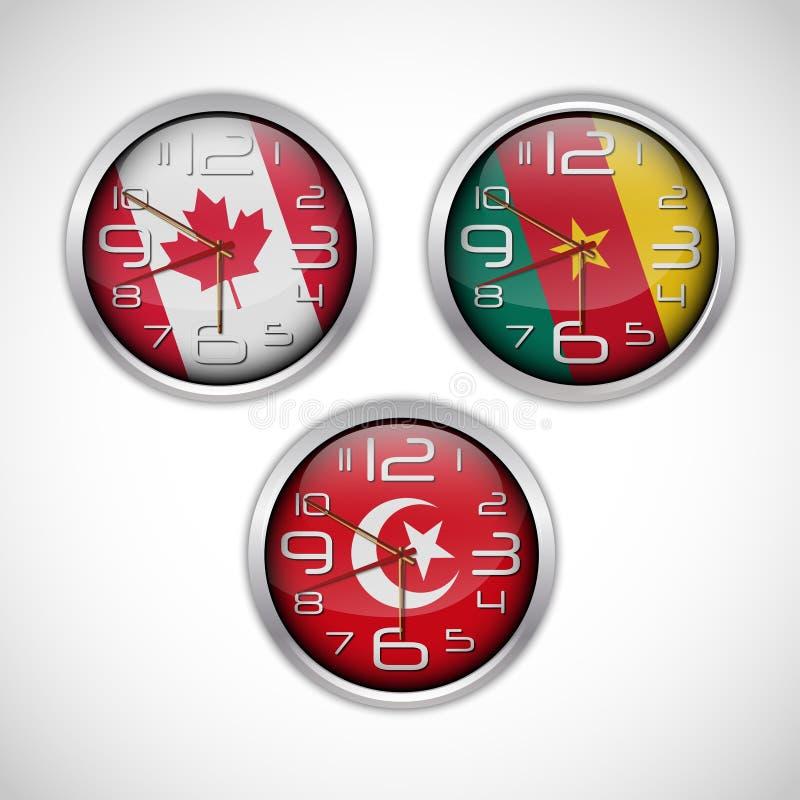 Horloges murales de nations de drapeau illustration stock