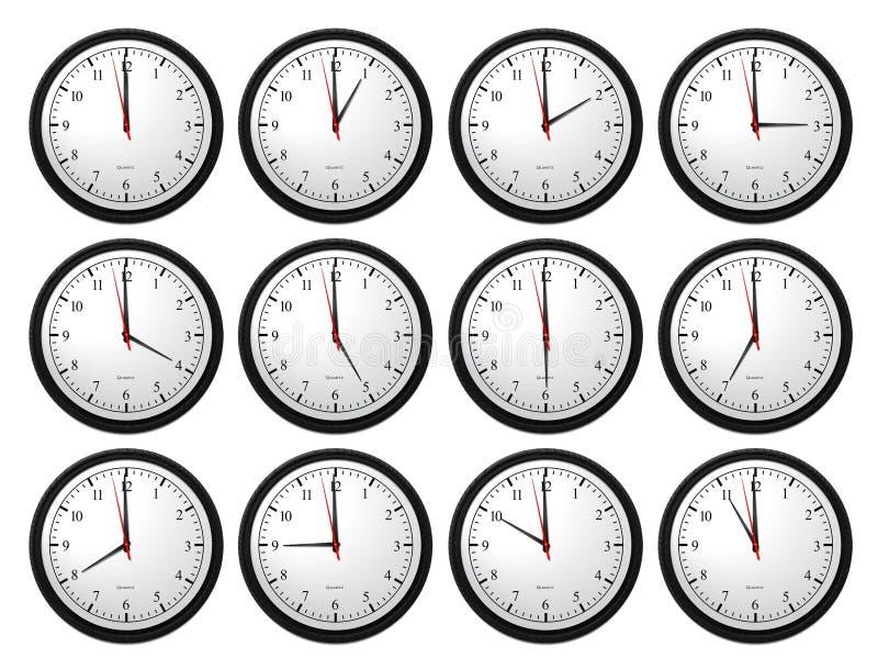 Horloges murales - représentation de toutes les fois illustration libre de droits