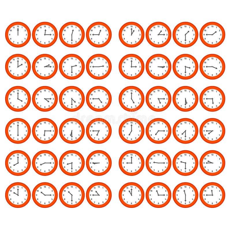 Horloges rouges de dessin animé illustration de vecteur