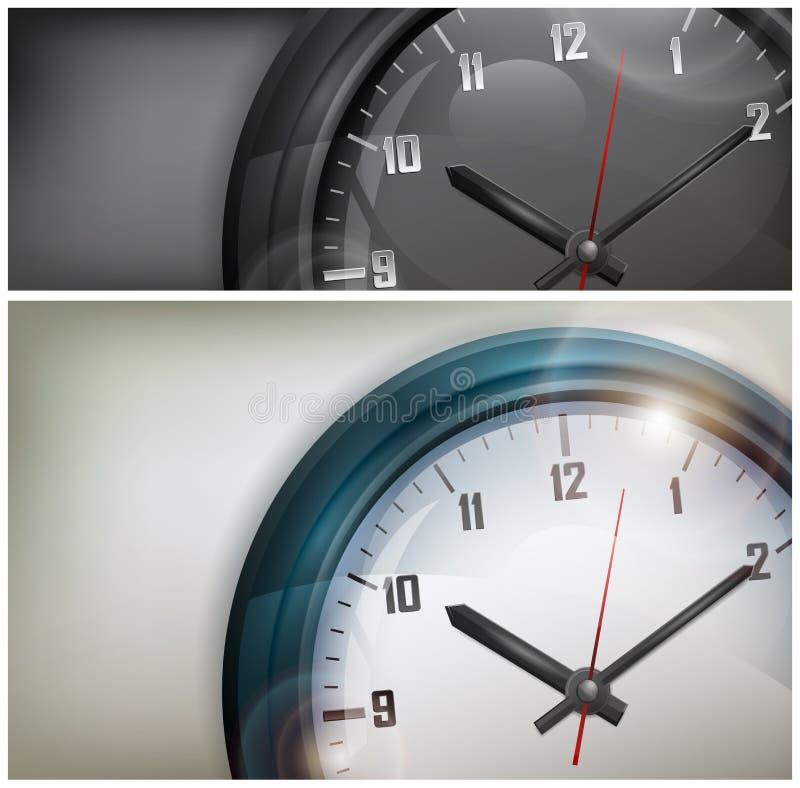 Horloges sur le blanc et le noir illustration de vecteur