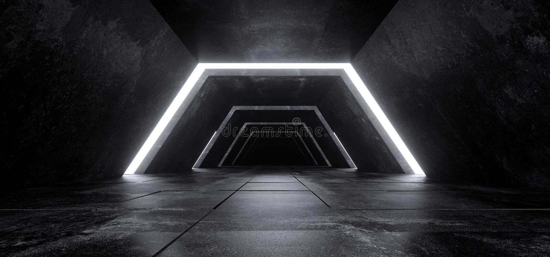 Hormigón oscuro vacío minimalista futurista moderno Co de Sci Fi del extranjero imagen de archivo