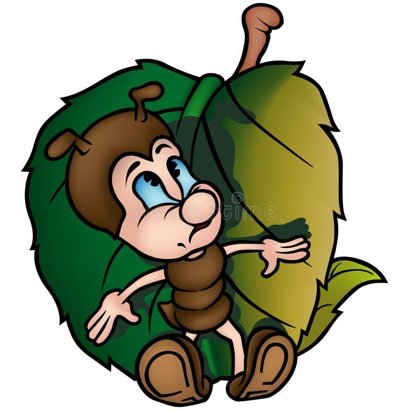 Hormiga con la hoja stock de ilustración