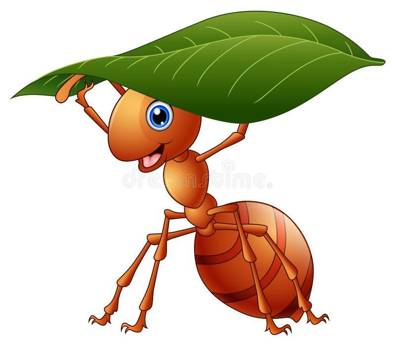 Hormiga de la historieta que sostiene una hoja verde stock de ilustración