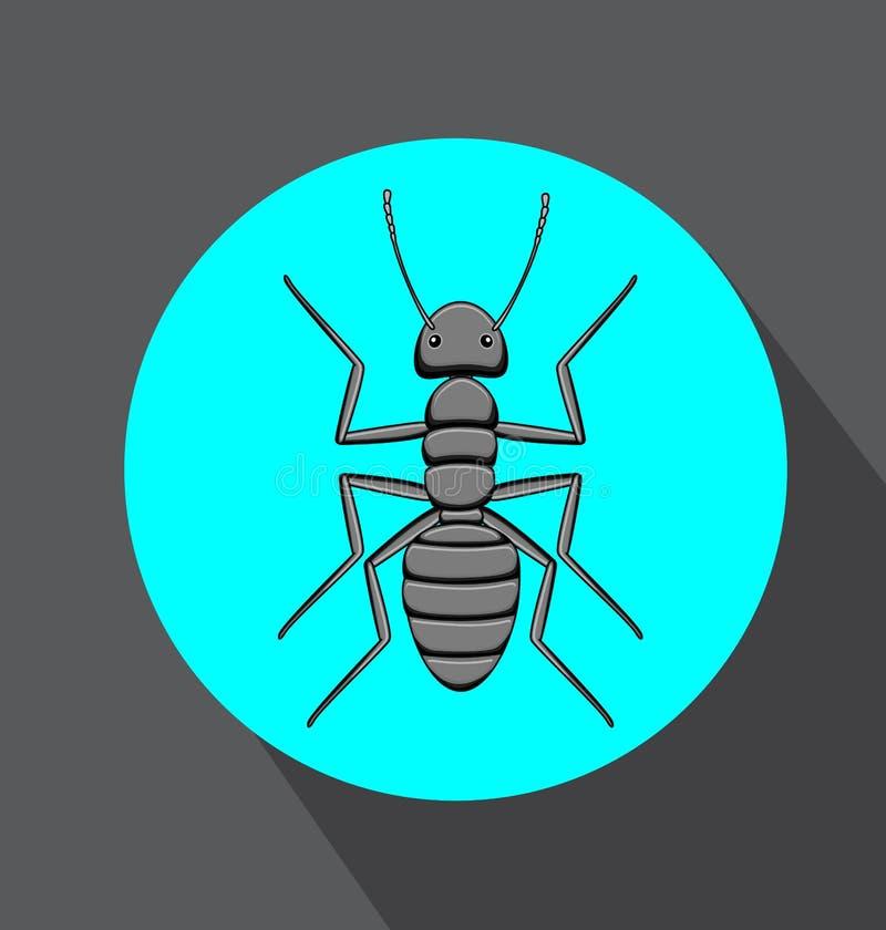 Hormiga negra espeluznante stock de ilustración