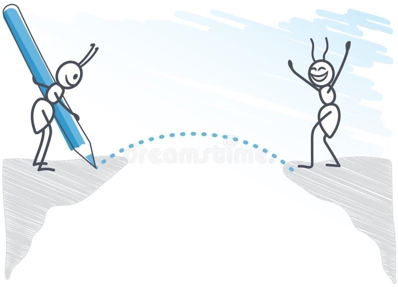Hormiga que dibuja un puente ilustración del vector