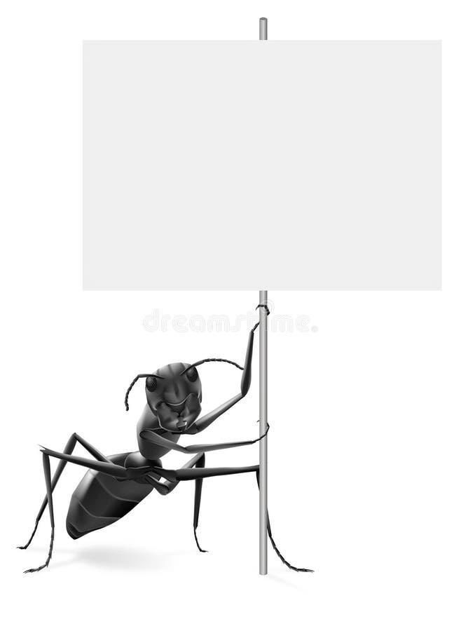 Hormiga que lleva a cabo protesta en blanco o que hace publicidad del cartel ilustración del vector
