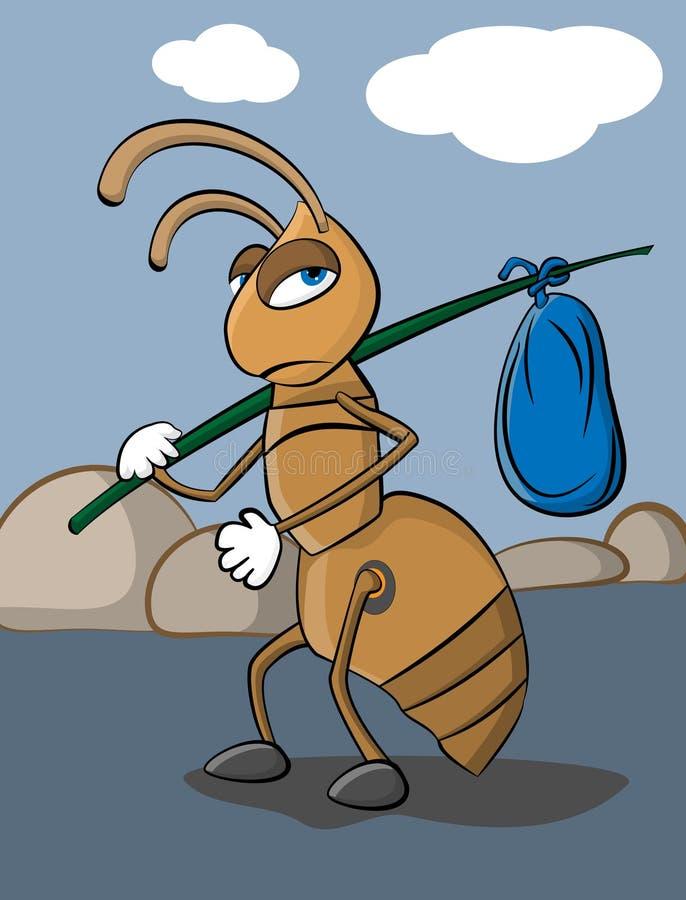 Hormiga sin hogar ilustración del vector