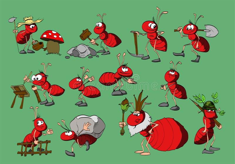 Hormigas del rojo de la historieta stock de ilustración