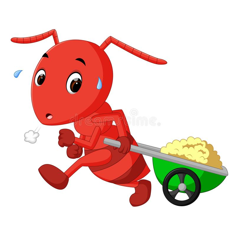 Hormigas que arrastran los carros libre illustration