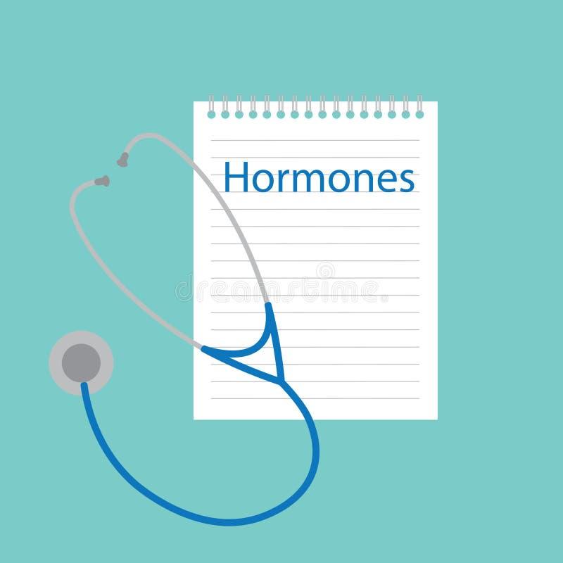 Hormonen in notitieboekje worden geschreven dat royalty-vrije illustratie