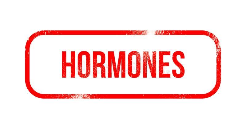 Hormonen - rood grungerubber, zegel royalty-vrije illustratie