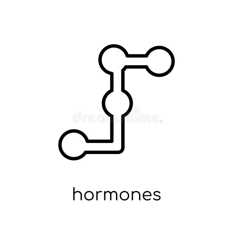 Hormonenpictogram In modern vlak lineair vectorhormonenpictogram  royalty-vrije illustratie