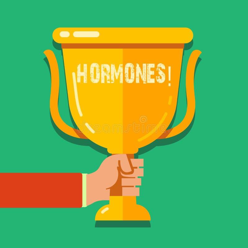 Hormoner för ordhandstiltext Affärsidé för den reglerande vikten som produceras i en organism för att stimulera cellhanden royaltyfri illustrationer