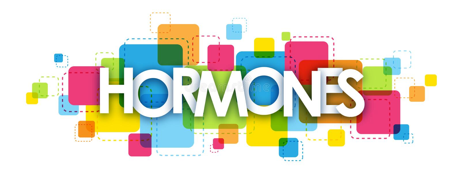 HORMONES banner on colorful squares background royalty free illustration