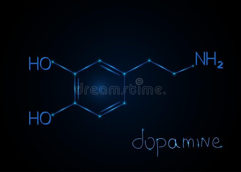 Hormonu Dopamine, cząsteczkowa formuła Chemiczny abstrakcjonistyczny tło również zwrócić corel ilustracji wektora royalty ilustracja