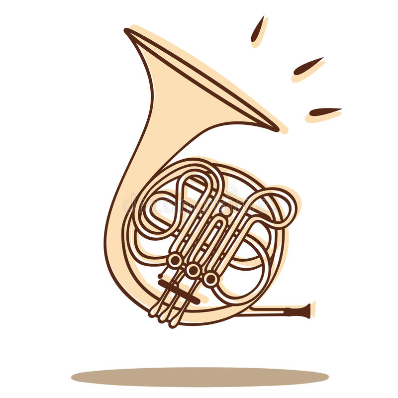 Horn vector. Illustration of a french horn isolated on white + vector eps file royalty free illustration