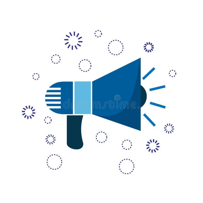 Horn för marknadsföringssymbolsblått annonsering av tecknet stock illustrationer