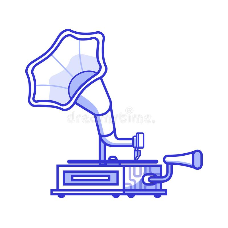 Horn- grammofonsymbol för tappning royaltyfri illustrationer