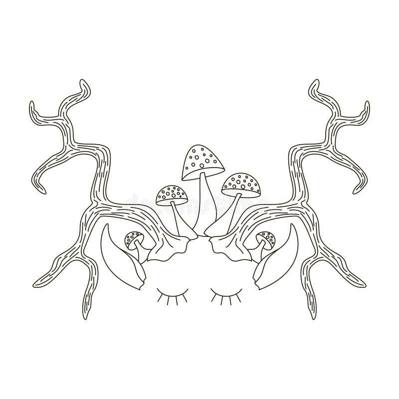 Horn med ögon och öron vektor illustrationer