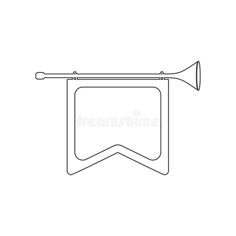 horn med flaggasymbolen Beståndsdel av zoo för mobilt begrepp och rengöringsdukappssymbol Översikt tunn linje symbol för websited vektor illustrationer
